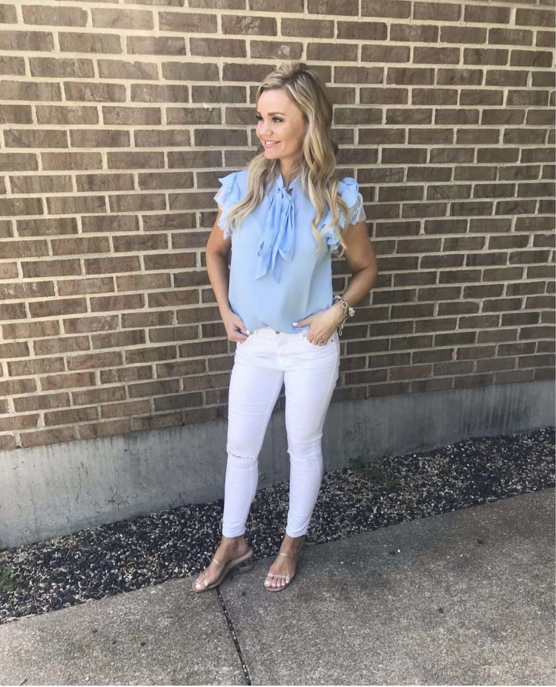 Cute Amazon Outfits _ Blue Blouse White Jeans