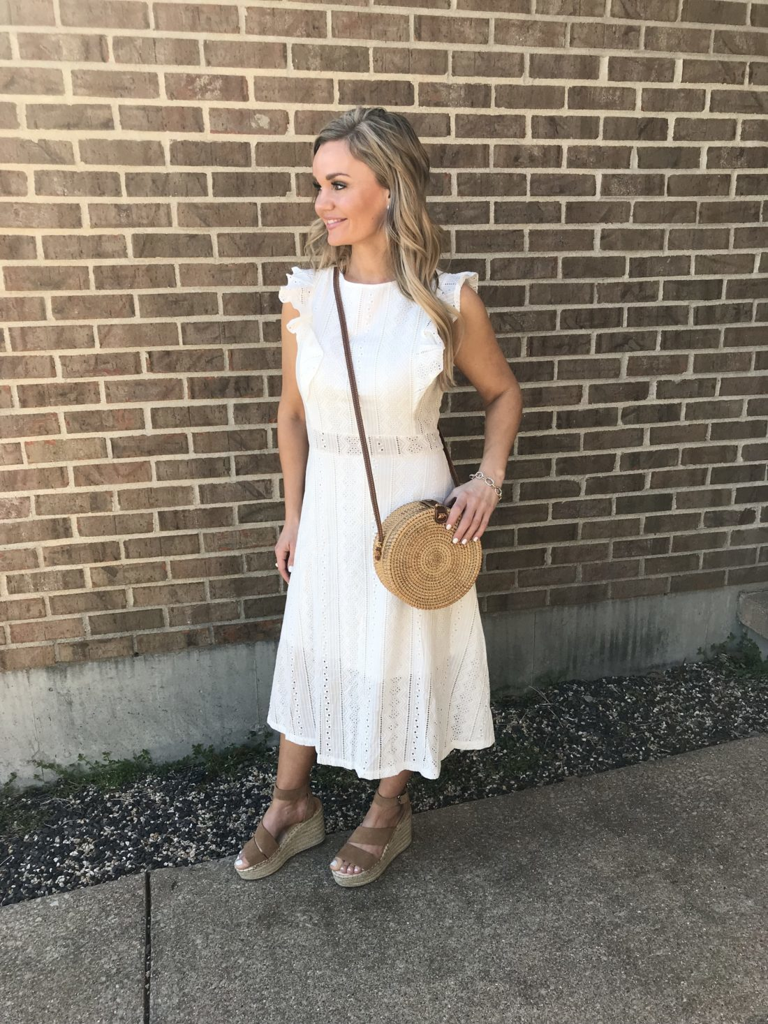 White Eyelet Dress Summer Outfit Ideas