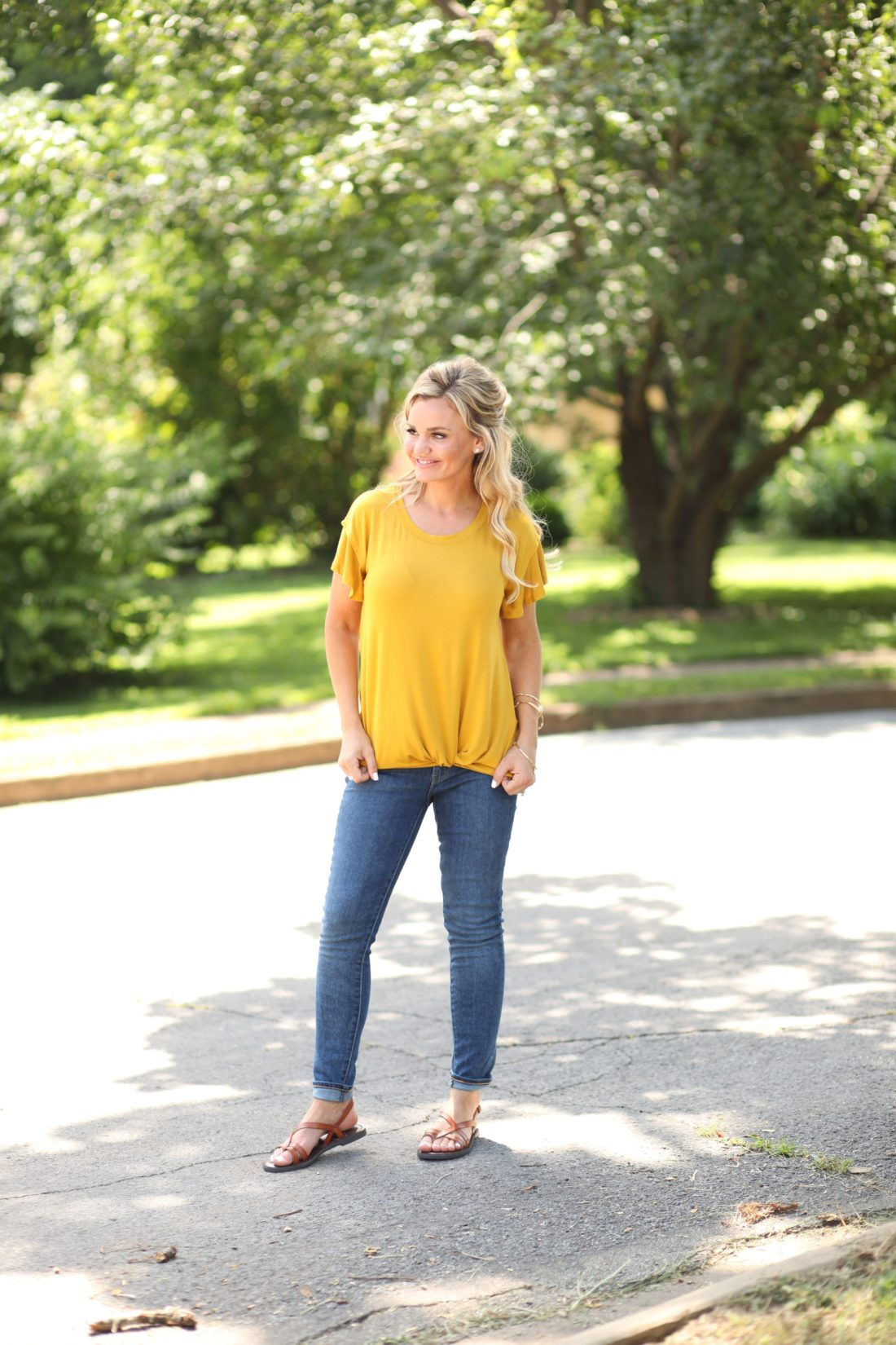 Affordable Fashion at Walmart -Mustard Front Knot T-Shirt.