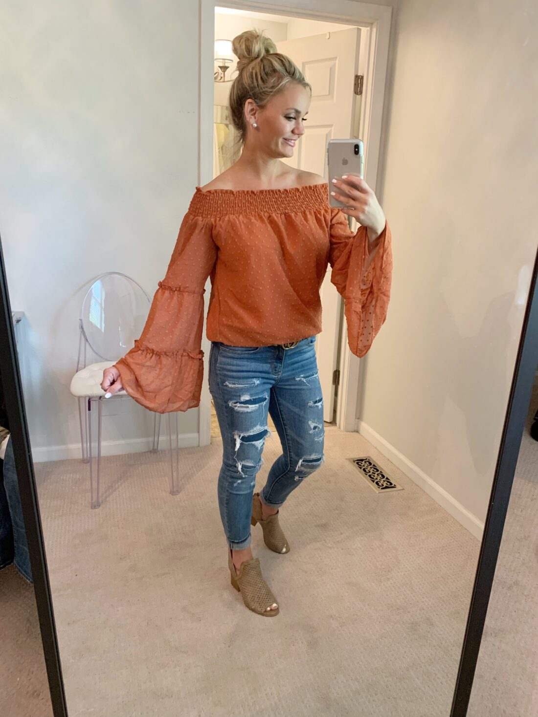 Amazon Fall outfits. Burnt orange Fall outfit top with snake print shoes.