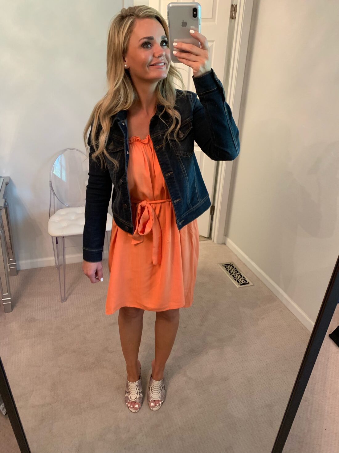 Amazon Fashion Finds for Fall. Orange Dress with a denim jacket and snakeskin shoes.