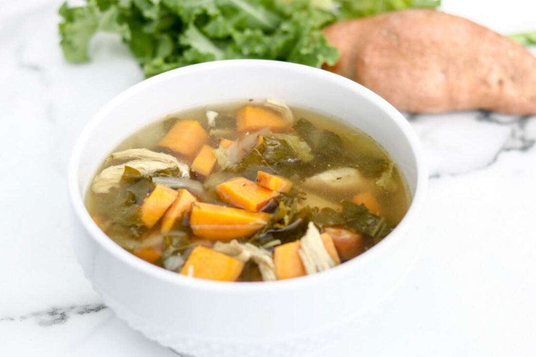 Slow Cooker Chicken Kale Sweet Potato soup