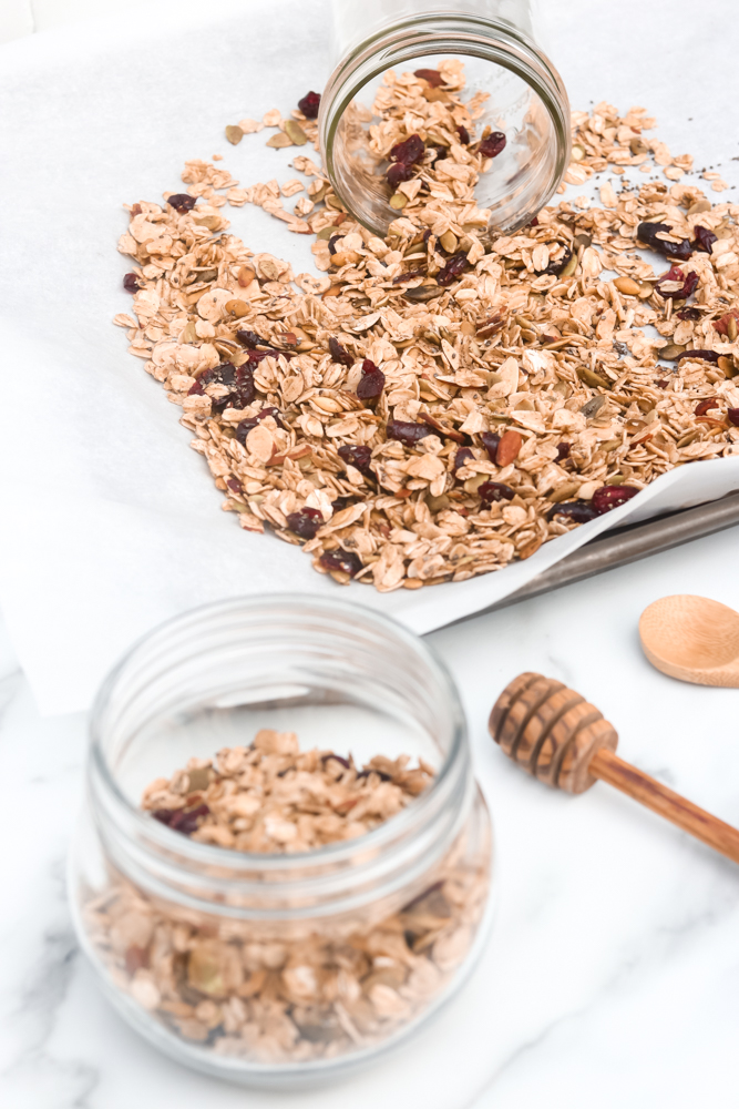 Easy Homemade Healthy Granola with a combination of oats, nuts, cranberries, vanilla, cinnamon, and maple syrup.